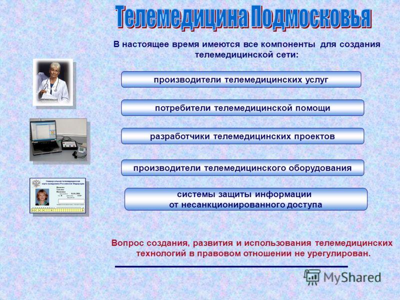 В настоящее время имеются все компоненты для создания телемедицинской сети: производители телемедицинских услуг потребители телемедицинской помощи разработчики телемедицинских проектов производители телемедицинского оборудования системы защиты информ
