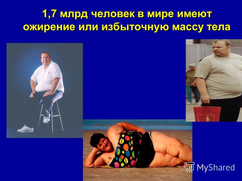 1,7 млрд человек в мире имеют ожирение или избыточную массу тела К 2025 году в мире от ожирения будут страдать 40% мужчин и 50% женщин