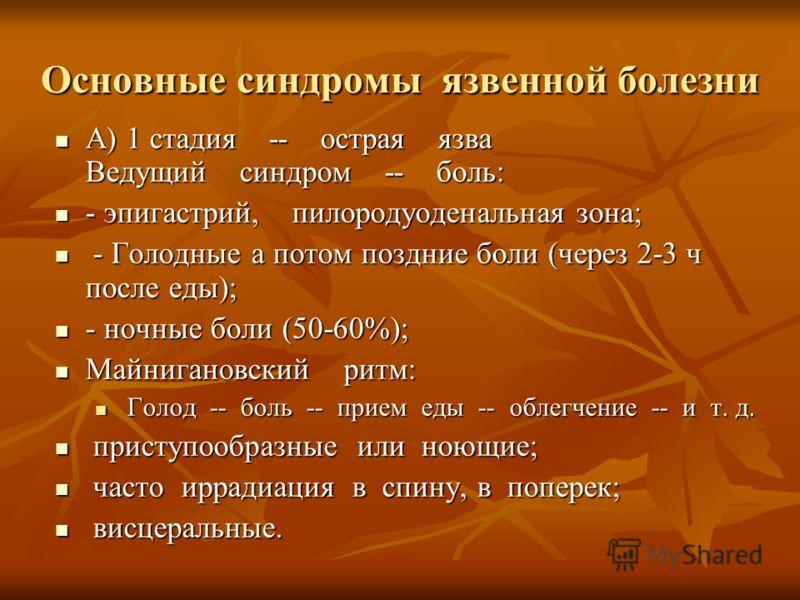 Основные синдромы язвенной болезни А) 1 стадия -- острая язва Ведущий синдром -- боль: А) 1 стадия -- острая язва Ведущий синдром -- боль: - эпигастрий, пилородуоденальная зона; - эпигастрий, пилородуоденальная зона; - Голодные а потом поздние боли (