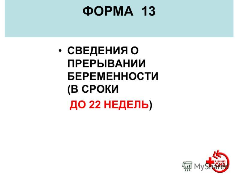 ФОРМА 13 СВЕДЕНИЯ О ПРЕРЫВАНИИ БЕРЕМЕННОСТИ (В СРОКИ ДО 22 НЕДЕЛЬ)