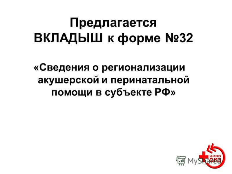 Предлагается ВКЛАДЫШ к форме 32 «Сведения о регионализации акушерской и перинатальной помощи в субъекте РФ»