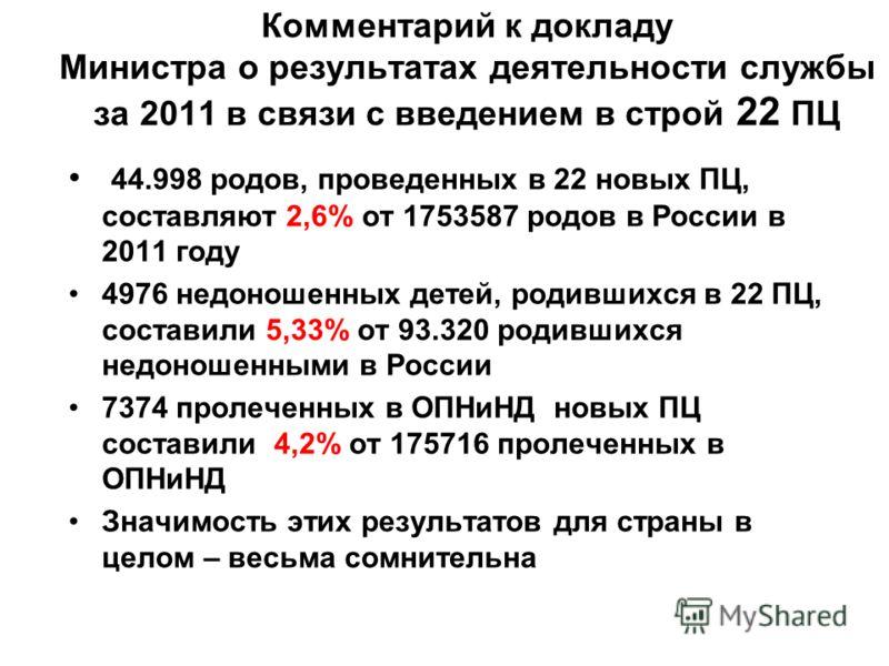Комментарий к докладу Министра о результатах деятельности службы за 2011 в связи с введением в строй 22 ПЦ 44.998 родов, проведенных в 22 новых ПЦ, составляют 2,6% от 1753587 родов в России в 2011 году 4976 недоношенных детей, родившихся в 22 ПЦ, сос