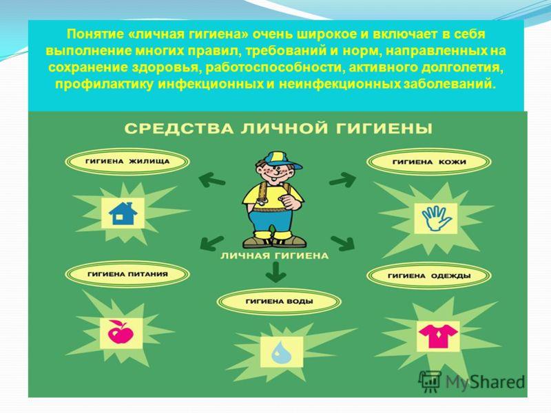 Понятие «личная гигиена» очень широкое и включает в себя выполнение многих правил, требований и норм, направленных на сохранение здоровья, работоспособности, активного долголетия, профилактику инфекционных и неинфекционных заболеваний.