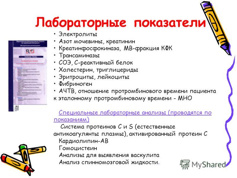 Лабораторные показатели - Электролиты Азот мочевины, креатинин Креатинфосфокиназа, МВ-фракция КФК Трансаминазы СОЭ, С-реактивный белок Холестерин, триглицериды Эритроциты, лейкоциты Фибриноген АЧТВ, отношение протромбинового времени пациента к эталон