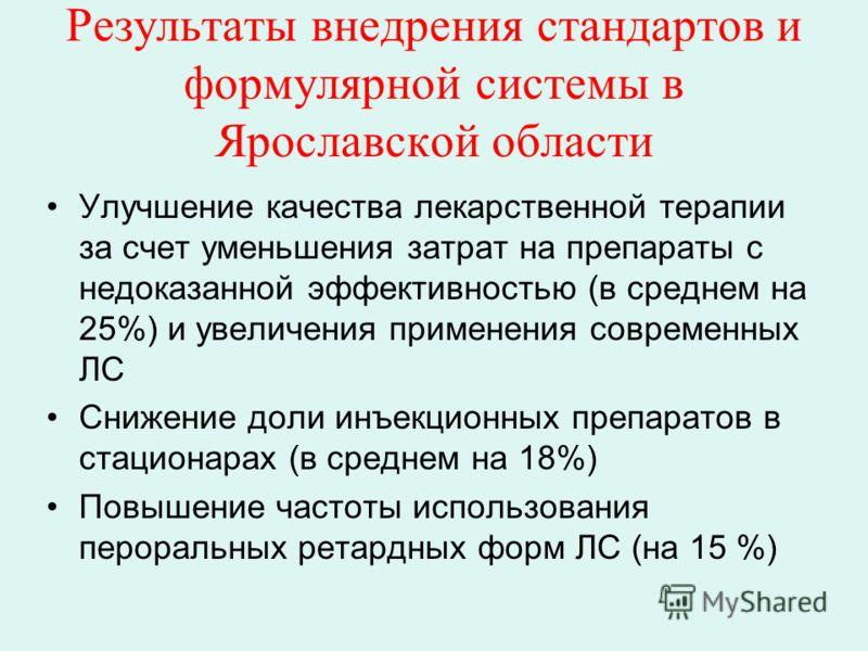 Результаты внедрения стандартов и формулярной системы в Ярославской области Улучшение качества лекарственной терапии за счет уменьшения затрат на препараты с недоказанной эффективностью (в среднем на 25%) и увеличения применения современных ЛС Снижен