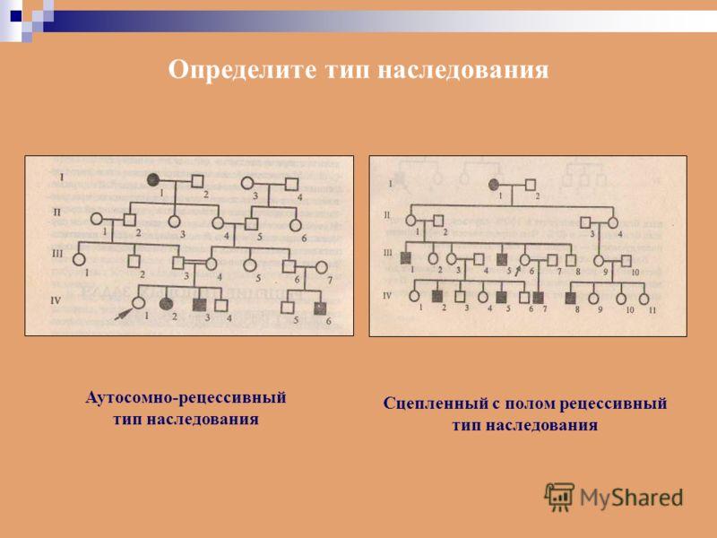 Определите тип наследования Аутосомно-рецессивный тип наследования Сцепленный с полом рецессивный тип наследования