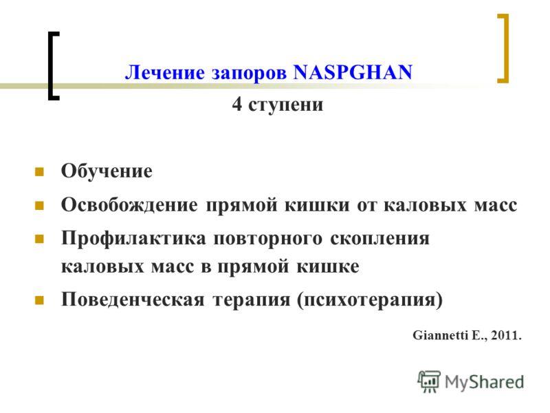 Лечение запоров NASPGHAN 4 ступени Обучение Освобождение прямой кишки от каловых масс Профилактика повторного скопления каловых масс в прямой кишке Поведенческая терапия (психотерапия) Giannetti E., 2011.
