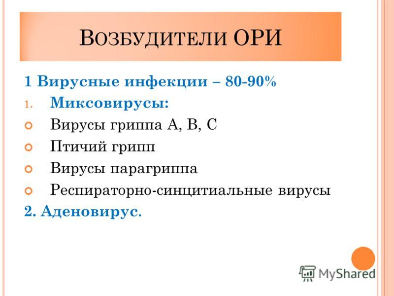 В ОЗБУДИТЕЛИ ОРИ 1 Вирусные инфекции – 80-90% 1. Миксовирусы: Вирусы гриппа А, В, С Птичий грипп Вирусы парагриппа Респираторно-синцитиальные вирусы 2. Аденовирус.