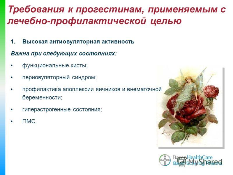 Требования к прогестинам, применяемым с лечебно-профилактической целью 1.Высокая антиовуляторная активность Важна при следующих состояниях: функциональные кисты; периовуляторный синдром; профилактика апоплексии яичников и внематочной беременности; ги