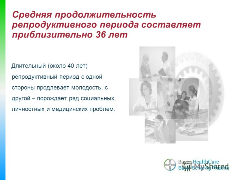 Длительный (около 40 лет) репродуктивный период с одной стороны продлевает молодость, с другой – порождает ряд социальных, личностных и медицинских проблем. Средняя продолжительность репродуктивного периода составляет приблизительно 36 лет