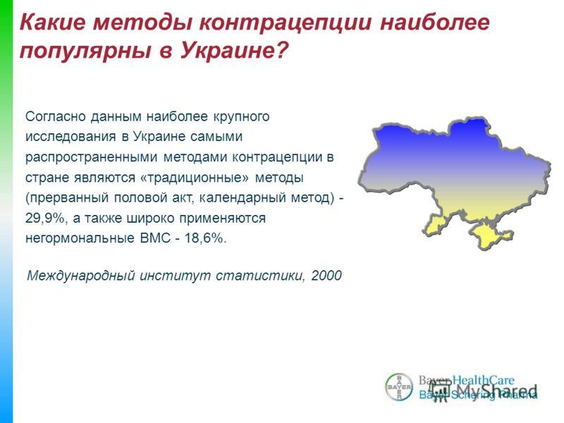 Какие методы контрацепции наиболее популярны в Украине? Международный институт статистики, 2000 Согласно данным наиболее крупного исследования в Украине самыми распространенными методами контрацепции в стране являются «традиционные» методы (прерванны