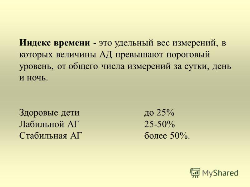 Индекс времени - это удельный вес измерений, в которых величины АД превышают пороговый уровень, от общего числа измерений за сутки, день и ночь. Здоровые детидо 25% Лабильной АГ 25-50% Стабильная АГболее 50%.