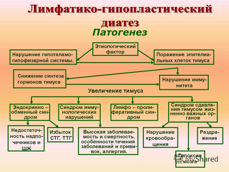 Патогенез Нарушение гипоталамо- гипофизарной системы. Этиологический фактор Поражение эпителиа- льных клеток тимуса Снижение синтеза гормонов тимуса Нарушение имму- нитета Эндокринно – обменный син- дром Увеличение тимуса Синдром сдавле- ния тимусом