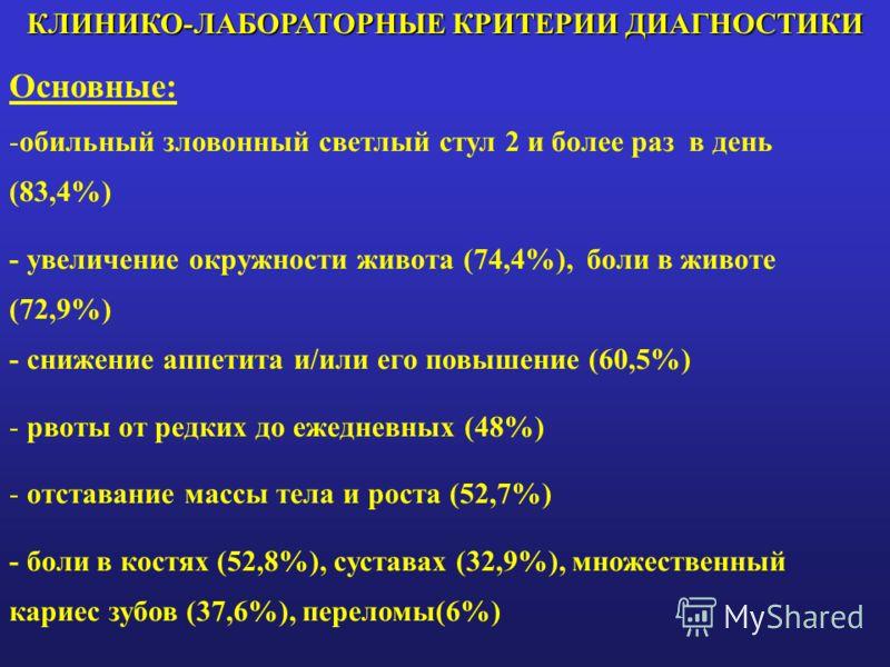 КЛИНИКО-ЛАБОРАТОРНЫЕ КРИТЕРИИ ДИАГНОСТИКИ Основные: -обильный зловонный светлый стул 2 и более раз в день (83,4%) - увеличение окружности живота (74,4%), боли в животе (72,9%) - снижение аппетита и/или его повышение (60,5%) - рвоты от редких до ежедн