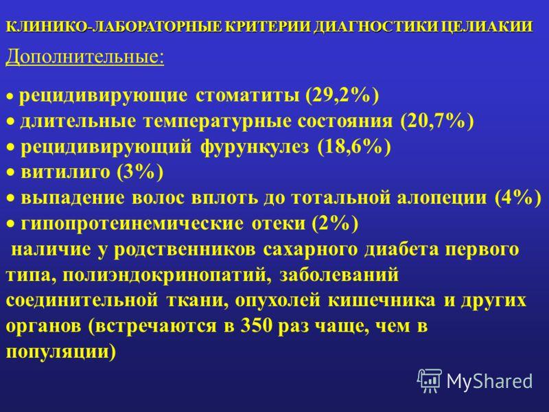 КЛИНИКО-ЛАБОРАТОРНЫЕ КРИТЕРИИ ДИАГНОСТИКИ ЦЕЛИАКИИ Дополнительные: рецидивирующие стоматиты (29,2%) длительные температурные состояния (20,7%) рецидивирующий фурункулез (18,6%) витилиго (3%) выпадение волос вплоть до тотальной алопеции (4%) гипопроте