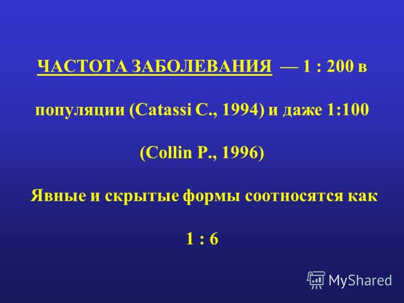 ЧАСТОТА ЗАБОЛЕВАНИЯ 1 : 200 в популяции (Catassi C., 1994) и даже 1:100 (Collin P., 1996) Явные и скрытые формы соотносятся как 1 : 6