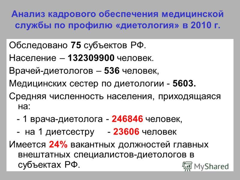 Анализ кадрового обеспечения медицинской службы по профилю «диетология» в 2010 г. Обследовано 75 субъектов РФ. Население – 132309900 человек. Врачей-диетологов – 536 человек, Медицинских сестер по диетологии - 5603. Средняя численность населения, при
