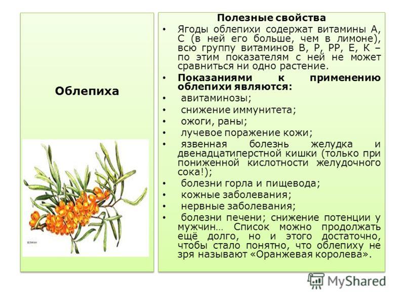 Облепиха Полезные свойства Ягоды облепихи содержат витамины А, С (в ней его больше, чем в лимоне), всю группу витаминов В, Р, РР, Е, К – по этим показателям с ней не может сравниться ни одно растение. Показаниями к применению облепихи являются: авита