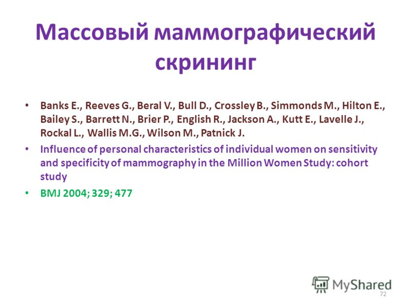 Массовый маммографический скрининг Banks E., Reeves G., Beral V., Bull D., Crossley B., Simmonds M., Hilton E., Bailey S., Barrett N., Brier P., English R., Jackson A., Kutt E., Lavelle J., Rockal L., Wallis M.G., Wilson M., Patnick J. Influence of p