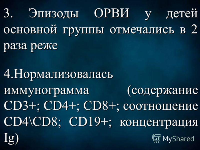 3. Эпизоды ОРВИ у детей основной группы отмечались в 2 раза реже 4.Нормализовалась иммунограмма (содержание CD3+; CD4+; CD8+; соотношение CD4\CD8; CD19+; концентрация Ig)