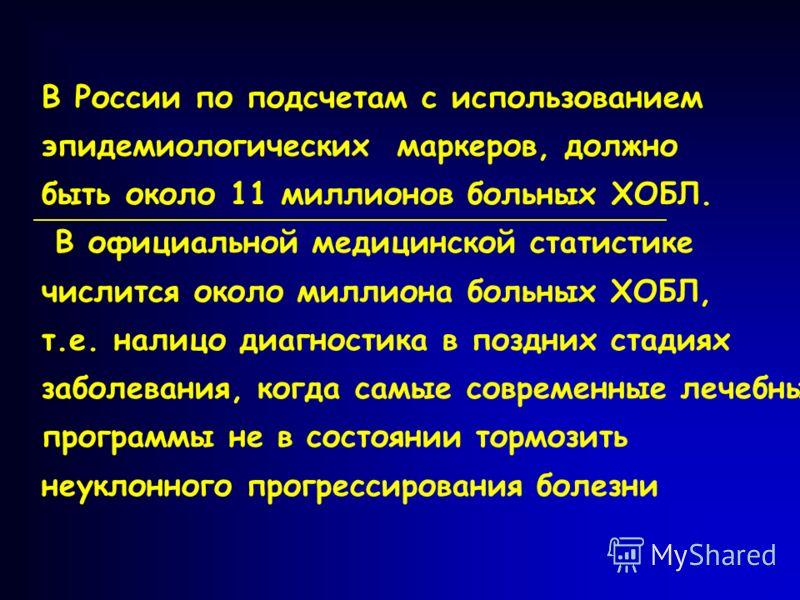 В России по подсчетам с использованием эпидемиологических маркеров, должно быть около 11 миллионов больных ХОБЛ. В официальной медицинской статистике числится около миллиона больных ХОБЛ, т.е. налицо диагностика в поздних стадиях заболевания, когда с