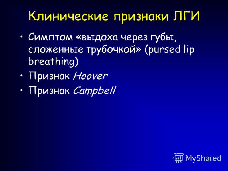 94 Клинические признаки ЛГИ Симптом «выдоха через губы, сложенные трубочкой» (pursed lip breathing) Признак Hoover Признак Campbell