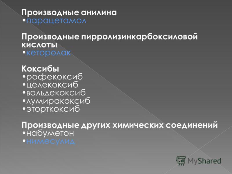 Производные анилинапарацетамол Производные пирролизинкарбоксиловой кислотыкеторолак Коксибы рофекоксиб целекоксиб вальдекоксиб лумиракоксиб эторткоксиб Производные других химических соединений набуметоннимесулид