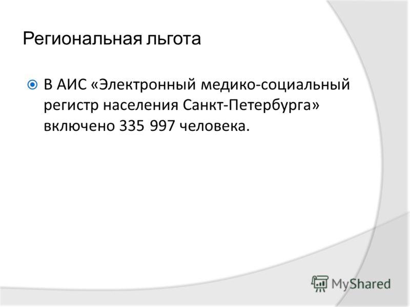 Региональная льгота В АИС «Электронный медико-социальный регистр населения Санкт-Петербурга» включено 335 997 человека.
