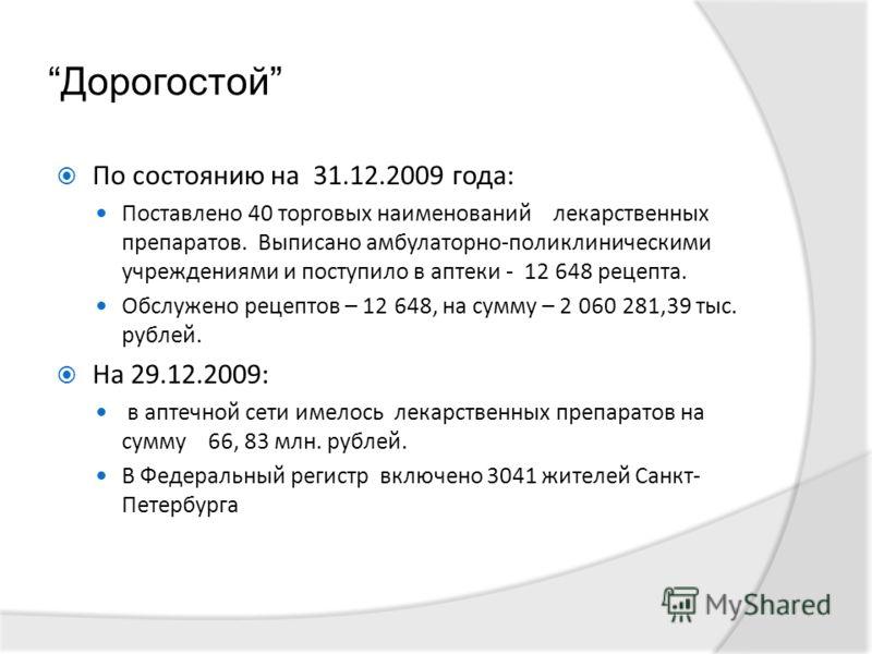 Дорогостой По состоянию на 31.12.2009 года: Поставлено 40 торговых наименований лекарственных препаратов. Выписано амбулаторно-поликлиническими учреждениями и поступило в аптеки - 12 648 рецепта. Обслужено рецептов – 12 648, на сумму – 2 060 281,39 т