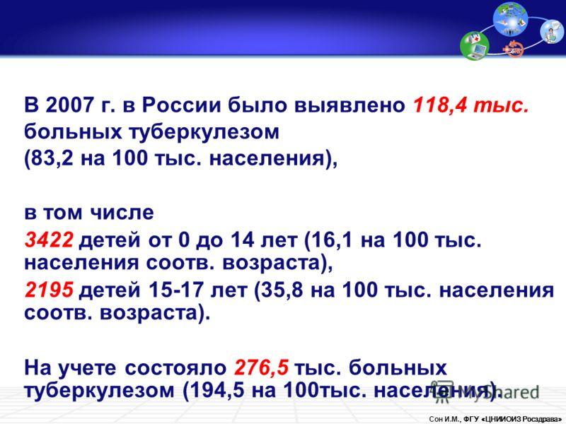 Сон И.М., ФГУ «ЦНИИОИЗ Росздрава» В 2007 г. в России было выявлено 118,4 тыс. больных туберкулезом (83,2 на 100 тыс. населения), в том числе 3422 детей от 0 до 14 лет (16,1 на 100 тыс. населения соотв. возраста), 2195 детей 15-17 лет (35,8 на 100 тыс