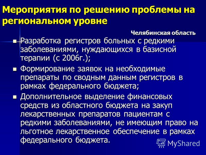 Мероприятия по решению проблемы на региональном уровне Челябинская область Разработка регистров больных с редкими заболеваниями, нуждающихся в базисной терапии (с 2006г.); Разработка регистров больных с редкими заболеваниями, нуждающихся в базисной т