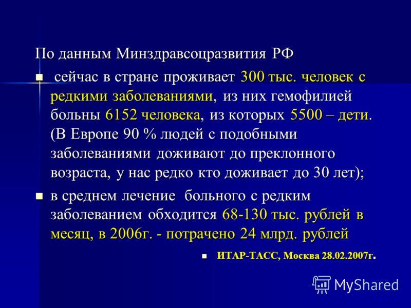 По данным Минздравсоцразвития РФ сейчас в стране проживает 300 тыс. человек с редкими заболеваниями, из них гемофилией больны 6152 человека, из которых 5500 – дети. (В Европе 90 % людей с подобными заболеваниями доживают до преклонного возраста, у на