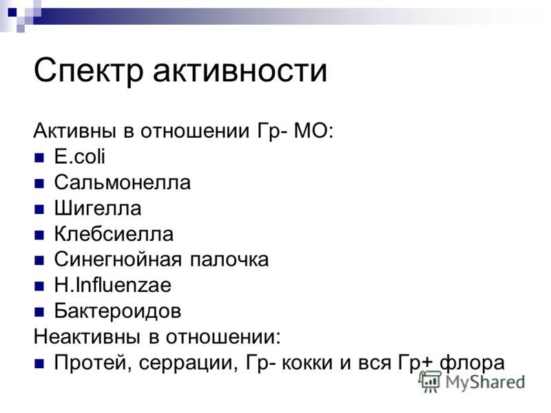 Спектр активности Активны в отношении Гр- МО: E.coli Сальмонелла Шигелла Клебсиелла Синегнойная палочка H.Influenzae Бактероидов Неактивны в отношении: Протей, серрации, Гр- кокки и вся Гр+ флора