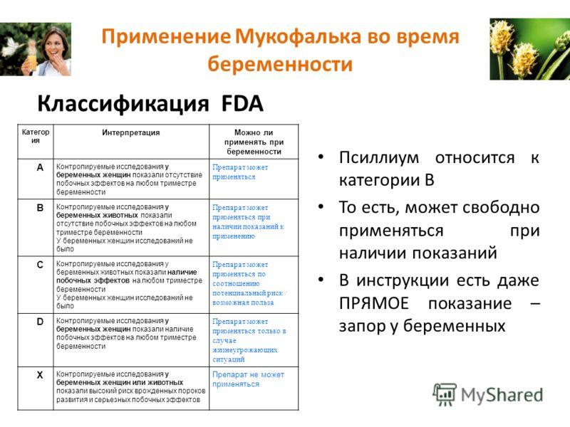 Применение Мукофалька во время беременности Классификация FDA Псиллиум относится к категории В То есть, может свободно применяться при наличии показаний В инструкции есть даже ПРЯМОЕ показание – запор у беременных Категор ия ИнтерпретацияМожно ли при
