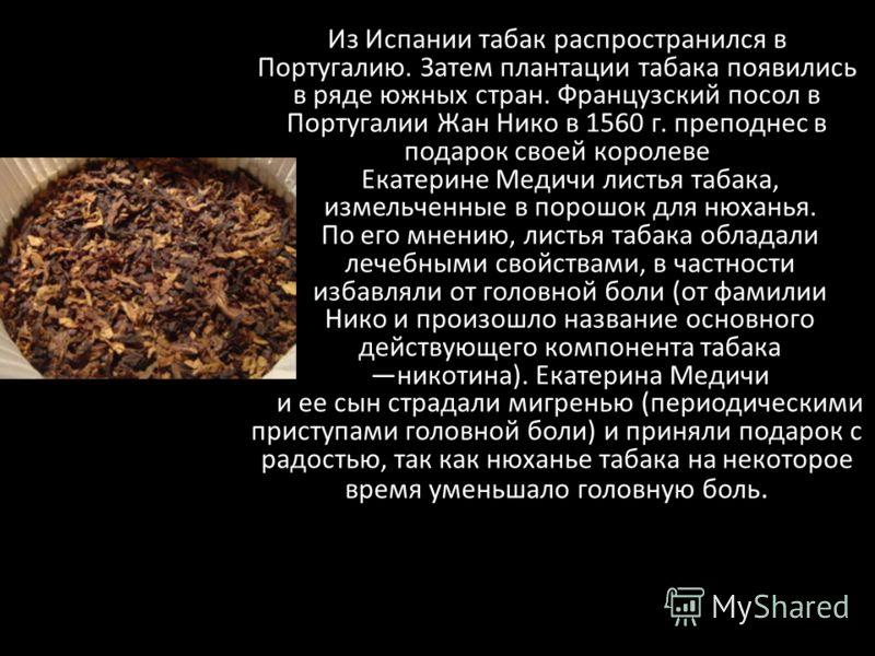 Из Испании табак распространился в Португалию. Затем плантации табака появились в ряде южных стран. Французский посол в Португалии Жан Нико в 1560 г. преподнес в подарок своей королеве Екатерине Медичи листья табака, измельченные в порошок для нюхань