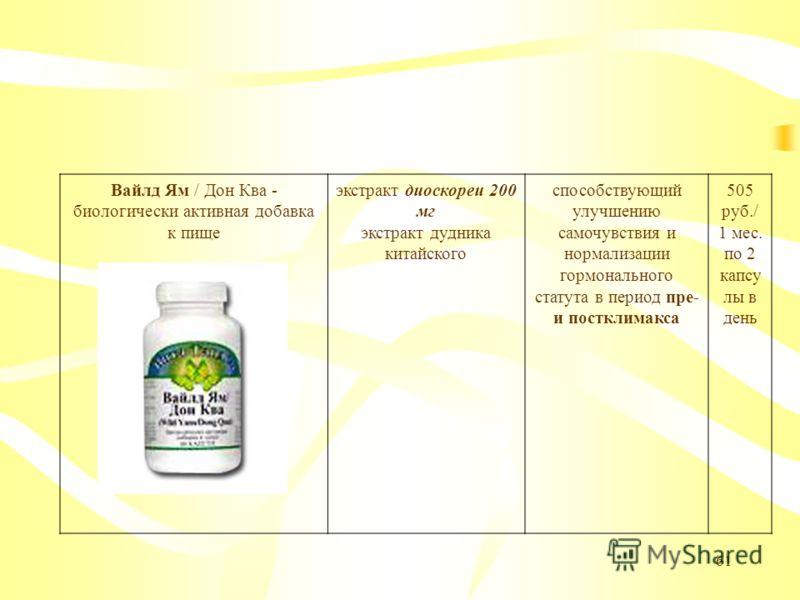 61 Вайлд Ям / Дон Ква - биологически активная добавка к пище экстракт диоскореи 200 мг экстракт дудника китайского способствующий улучшению самочувствия и нормализации гормонального статута в период пре- и постклимакса 505 руб./ 1 мес. по 2 капсу лы