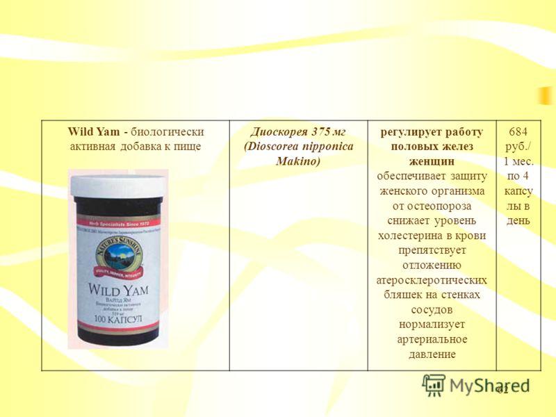 62 Wild Yam - биологически активная добавка к пище Диоскорея 375 мг (Dioscorea nipponica Makino) регулирует работу половых желез женщин обеспечивает защиту женского организма от остеопороза снижает уровень холестерина в крови препятствует отложению а