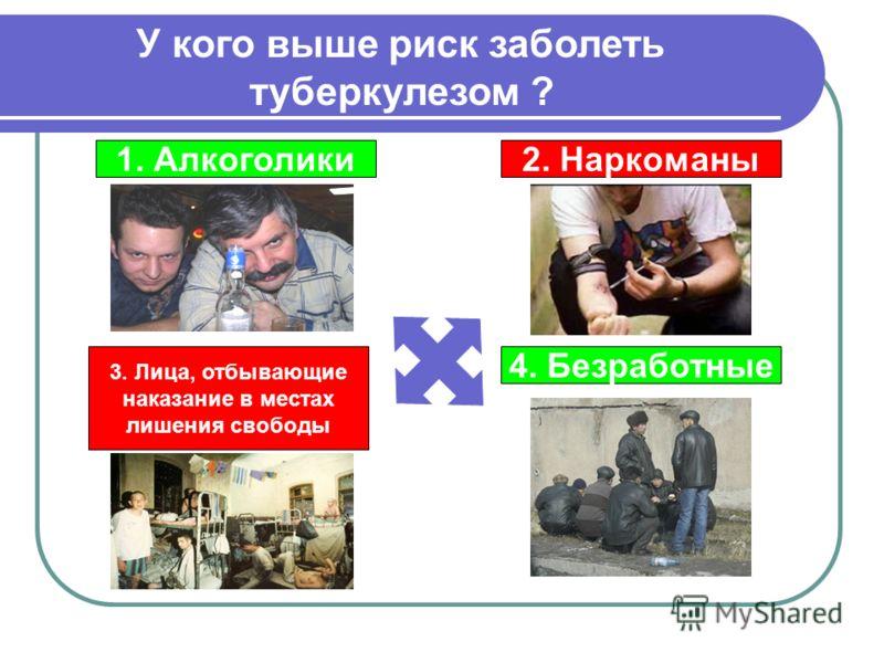 У кого выше риск заболеть туберкулезом ? 1. Алкоголики2. Наркоманы 4. Безработные 3. Лица, отбывающие наказание в местах лишения свободы