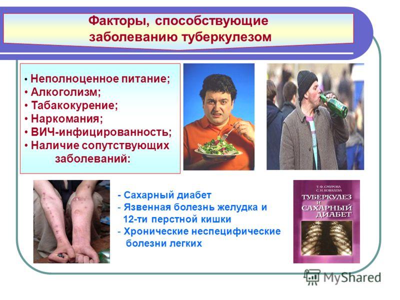 Факторы, способствующие заболеванию туберкулезом Неполноценное питание; Алкоголизм; Табакокурение; Наркомания; ВИЧ-инфицированность; Наличие сопутствующих заболеваний: - Сахарный диабет - Язвенная болезнь желудка и 12-ти перстной кишки - Хронические
