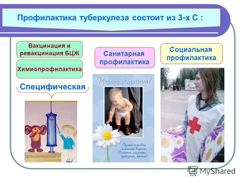 Профилактика туберкулеза состоит из 3-х С : Химиопрофилактика Вакцинация и ревакцинация БЦЖ Санитарная профилактика Специфическая Социальная профилактика