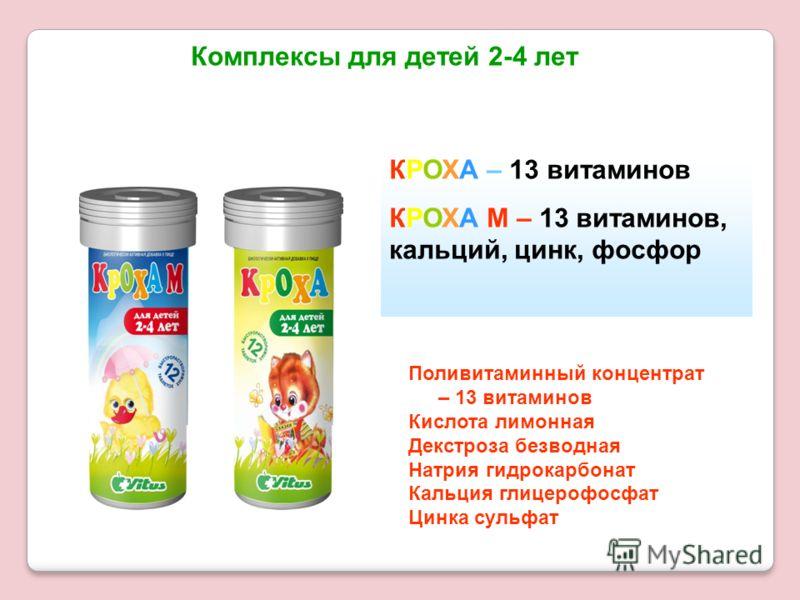 Комплексы для детей 2-4 лет КРОХА – 13 витаминов КРОХА М – 13 витаминов, кальций, цинк, фосфор Поливитаминный концентрат – 13 витаминов Кислота лимонная Декстроза безводная Натрия гидрокарбонат Кальция глицерофосфат Цинка сульфат