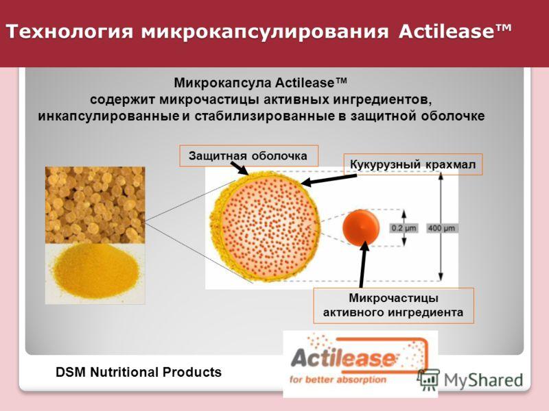 Технология микрокапсулирования Actilease DSM Nutritional Products Микрокапсула Actilease содержит микрочастицы активных ингредиентов, инкапсулированные и стабилизированные в защитной оболочке Защитная оболочка Кукурузный крахмал Микрочастицы активног