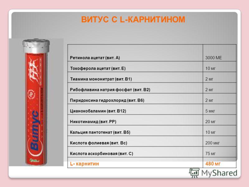 Ретинола ацетат (вит. А)3000 МЕ Токоферола ацетат (вит. Е)10 мг Тиамина мононитрат (вит. В1)2 мг Рибофлавина натрия фосфат (вит. В2)2 мг Пиридоксина гидрохлорид (вит. В6)2 мг Цианокобаламин (вит. В12)5 мкг Никотинамид (вит. РР)20 мг Кальция пантотена