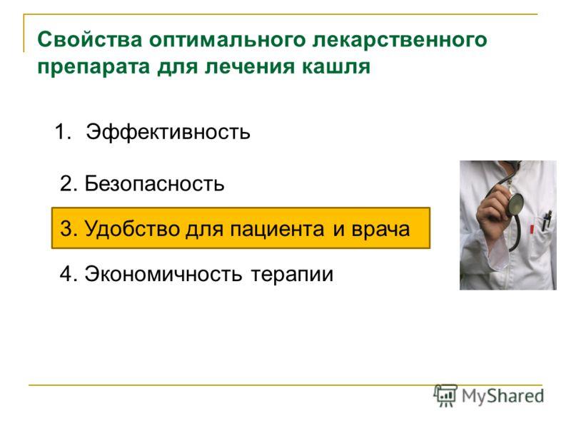 1.Эффективность 2. Безопасность 3. Удобство для пациента и врача 4. Экономичность терапии Свойства оптимального лекарственного препарата для лечения кашля