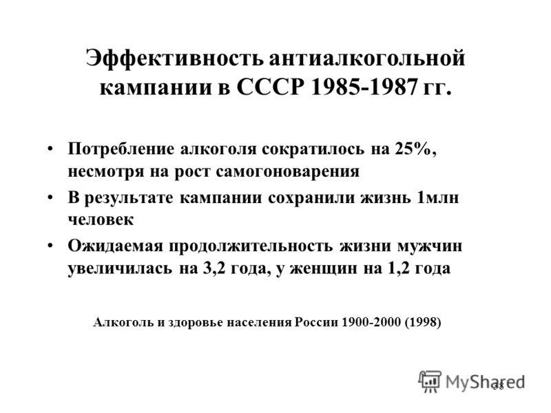 38 Эффективность антиалкогольной кампании в СССР 1985-1987 гг. Потребление алкоголя сократилось на 25%, несмотря на рост самогоноварения В результате кампании сохранили жизнь 1млн человек Ожидаемая продолжительность жизни мужчин увеличилась на 3,2 го