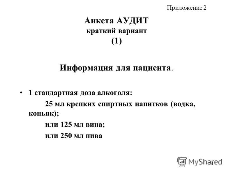 74 Анкета АУДИТ краткий вариант (1) Информация для пациента. 1 стандартная доза алкоголя: 25 мл крепких спиртных напитков (водка, коньяк); или 125 мл вина; или 250 мл пива Приложение 2