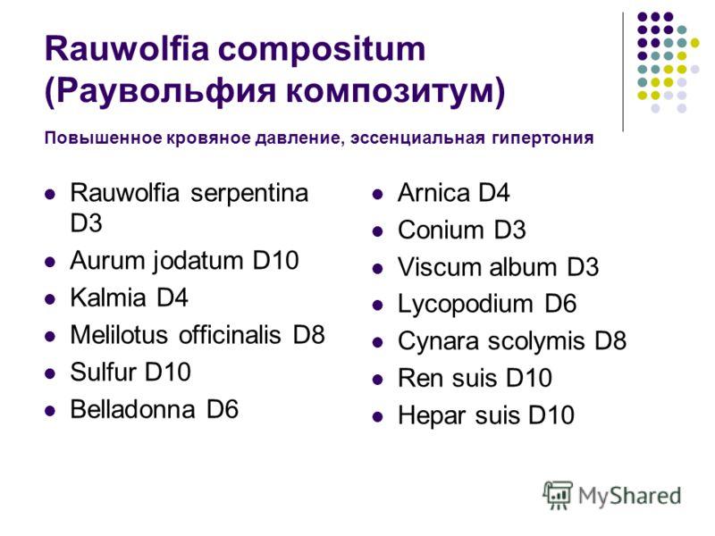 Rauwolfia compositum (Раувольфия композитум) Повышенное кровяное давление, эссенциальная гипертония Rauwolfia serpentina D3 Aurum jodatum D10 Kalmia D4 Melilotus officinalis D8 Sulfur D10 Belladonna D6 Arnica D4 Conium D3 Viscum album D3 Lycopodium D