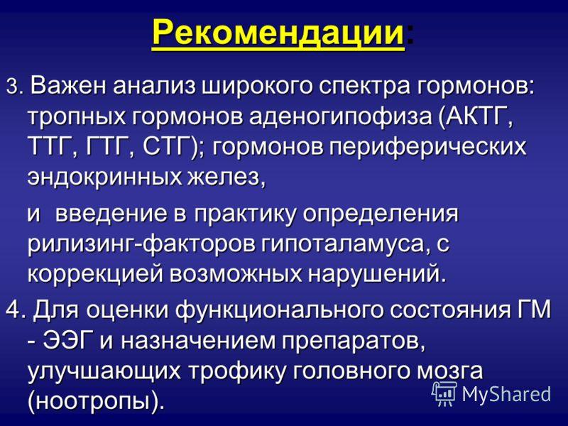Рекомендации Рекомендации: 3. Важен анализширокого спектра гормонов: тропных гормонов аденогипофиза (АКТГ, ТТГ, ГТГ, СТГ); гормонов периферических эндокринных желез, 3. Важен анализ широкого спектра гормонов: тропных гормонов аденогипофиза (АКТГ, ТТГ