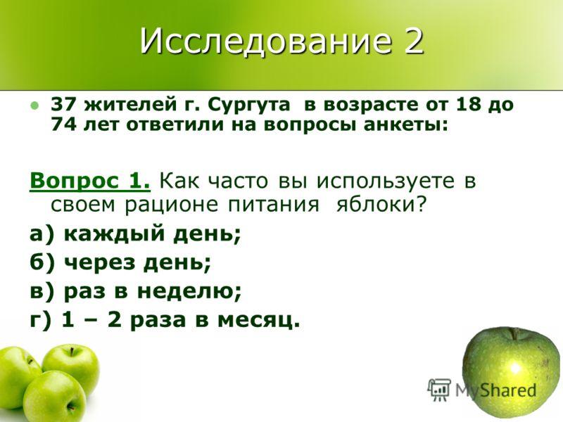 Исследование 2 37 жителей г. Сургута в возрасте от 18 до 74 лет ответили на вопросы анкеты: Вопрос 1. Как часто вы используете в своем рационе питания яблоки? а) каждый день; б) через день; в) раз в неделю; г) 1 – 2 раза в месяц.