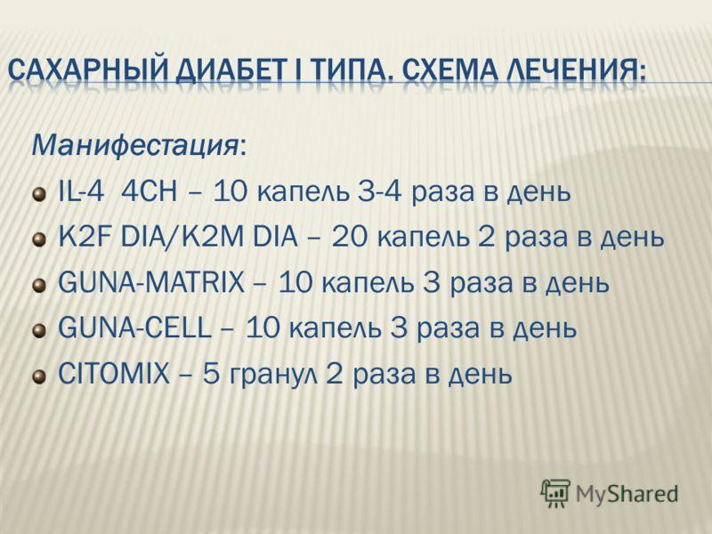 Манифестация: IL-4 4CH – 10 капель 3-4 раза в день K2F DIA/K2M DIA – 20 капель 2 раза в день GUNA-MATRIX – 10 капель 3 раза в день GUNA-CELL – 10 капель 3 раза в день CITOMIX – 5 гранул 2 раза в день